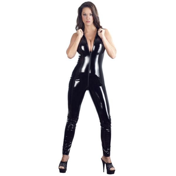 Black Level Lak Jumpsuit med Krave