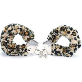 Håndjern med plys i leopard