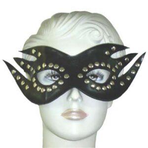 Maske i læderlook med nitter