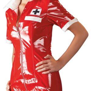 Minikjole og hætte i lak, i sygeplejerske-look