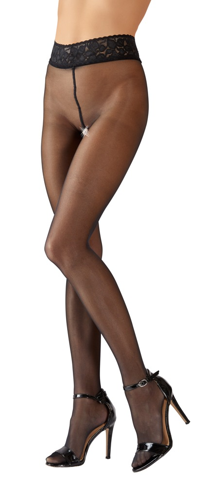 Strømpebukser med blondekant og åbent skridt