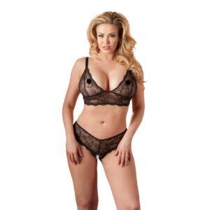 Cottelli - Bundløs Blonde bh-sæt Plus Size -XL