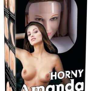 "Elskovsdukke ""Horny Amanda"" med 3D-ansigt og vibro-æg"