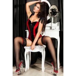Fræk rød og sort corsage - L