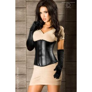 Sort faux leather corsage - S