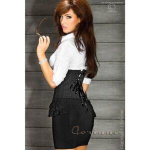 Sort lårkort nederdel med flæser - M