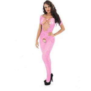 Body Pleasure Lyserød catsuit med korte ærmer
