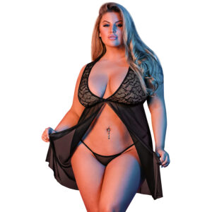 Magic Silk Fly Away Babydoll Blonde Sæt Plus Size