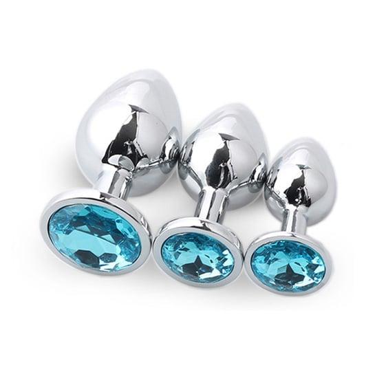 Metal plug sæt med 3 - Sølv/blå