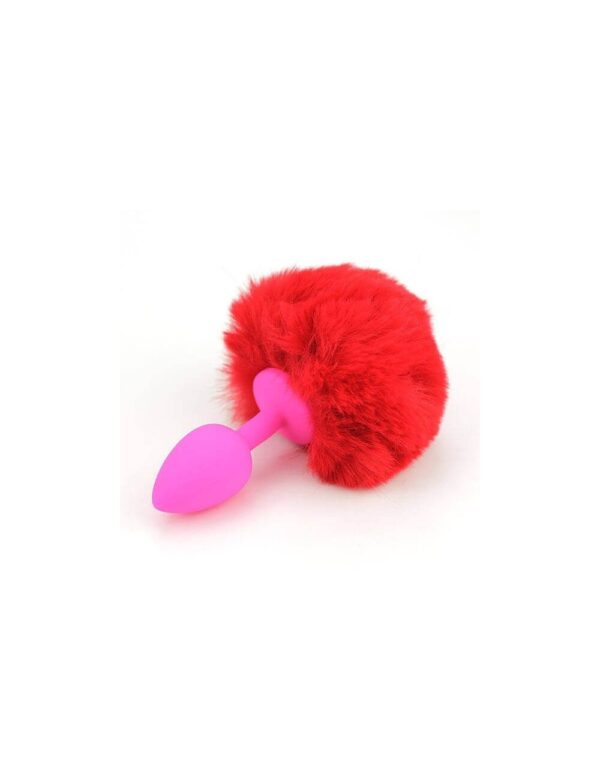 PlayHard - Silikone Bunny Tail Anal Plug Rød