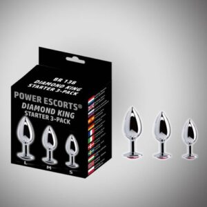 Power Escorts Metal anal plugs med diamant - 3 stk