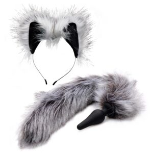 Tailz Grey Wolf Tail Anal Plug og Ører